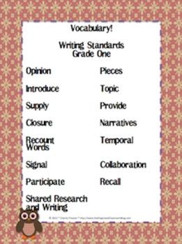 Owl Theme Grade One CCSS Complete Vocabulary Program
