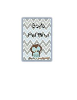 Owl Theme Hall Pass (Boy and Girl) Chevron Style
