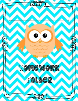 owl theme homework folder cover customizable by the colorful