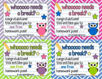 Owl Theme Homework Pass