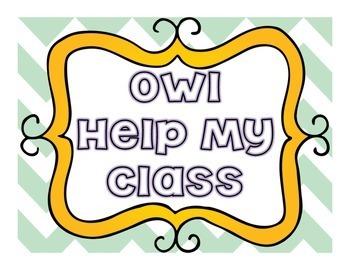 Classroom Job Chart: Owl Help my Class