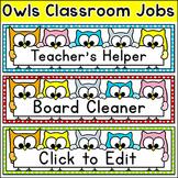 Classroom Jobs Labels - Owl Theme - Editable