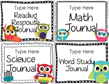 Owl Theme {Journal and Folder Labels}