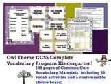 Owl Theme Kindergarten CCSS Complete Vocabulary Program