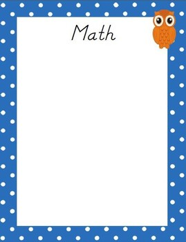 Owl Theme Kindergarten L. Arts & Math Common Core Standards Posters