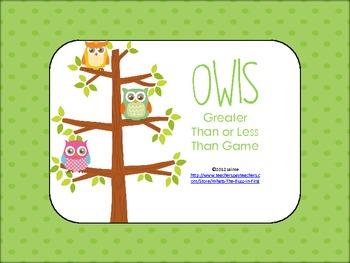 Owl Theme Math Center Game {Greater Than Less Than}