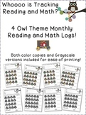 Owl Theme Monthly Reading and Math Logs