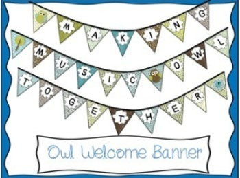 Owl Themed Music Room Welcome Banner
