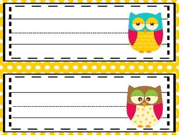 Owl Theme Editable Name Plates