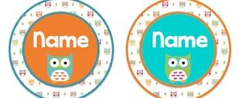 Owl Theme Name Plates / Tags Orange & Turquoise Editable!