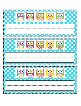 Owl Theme Name Tags and Plates