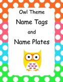 Owl Theme Name Tags and Plates