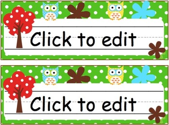Owl Theme Nameplates (EDITABLE)