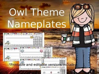 Owl Theme Nameplates
