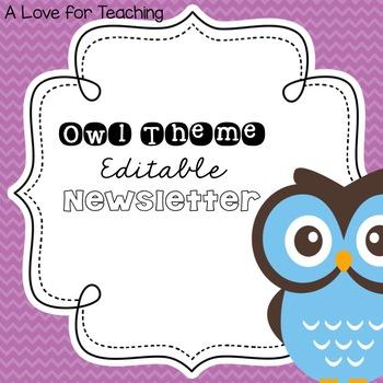 Owl Theme Newsletter {Editable}