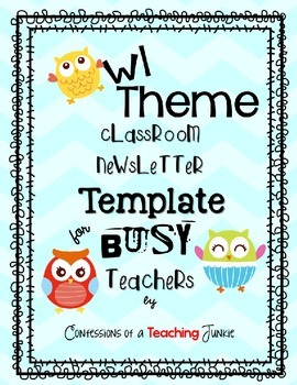 Owl Theme Newsletter Template for Busy Teachers
