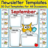 Owl Theme Monthly Newsletter Template Editable