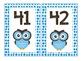 Owl Theme Number Cards 1-100 Blue Polka Dot