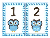 Owl Theme Number Cards 1-100 Blue Polka Dot