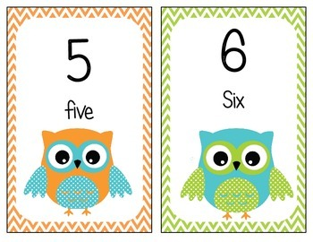 Owl Theme Numbers Posters 1-100