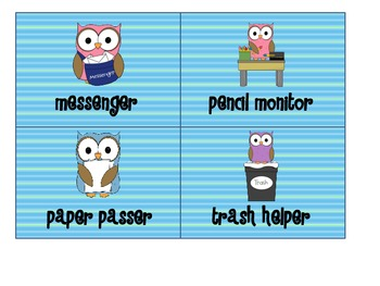 Owl Theme Pack; Job cards, getting home display, name plates