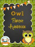 Owl Theme Parent Handbook ~ Printable ~ Back-to-School {personalize it}