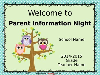 Owl Theme Parent Information Night Power Point Template