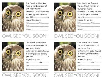 Owl Theme Parent Teacher Conference Reminder Card