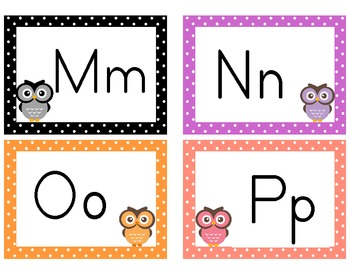Owl Theme Polka Dot Alphabet Cards