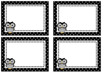 Owl Theme Polka Dot Cubby Labels