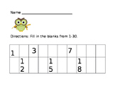 Owl Theme Practice Writing Numbers 1-30