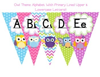 Owl Theme Primary Lined Alphabet with Upper and Lowercase Letters