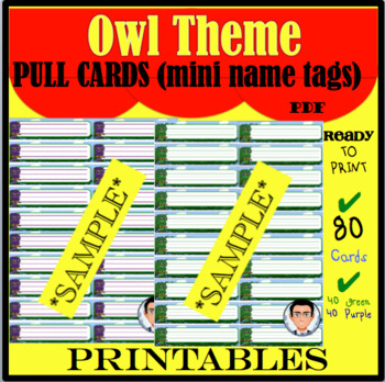 Owl Theme Pull Cards (mini name tags)