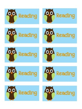 Owl Theme Reading Labels Freebie