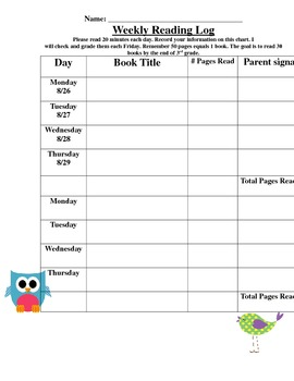 Reading Log: Owl Theme