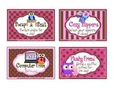 Owl Theme Reward Coupons ~ 16 Rewards that cost NO Money!