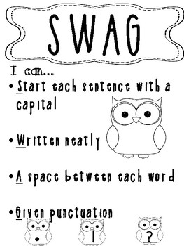 Owl Theme SWAG_ Sentence Writing Poster