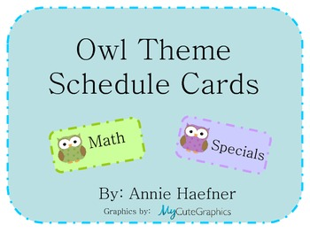 Owl Theme Schedule Cards