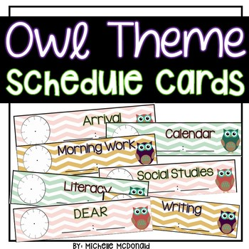 Owl Theme Schedule Cards (FREEBIE!)
