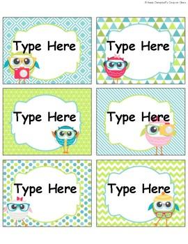 Owl Theme {School Supply Labels}