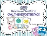 Owl Theme Shape, Color, & Numbers w/ ten frames Colors Pos