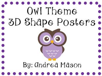 Owl Theme Shape Posters 3D