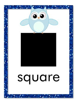 Owl Theme Shape Posters with Glitter Frames