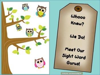 Owl Theme Sight Word Kit - Take home certificate, name lab