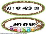 """Owl Theme """"Sorry We Missed You"""" Signs"""
