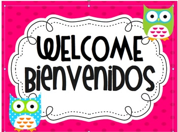 Owl Theme Spanish Welcome Sign