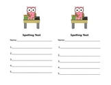 Owl Theme Spelling Test Template