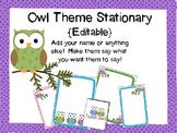 Owl Theme Stationery {Editable)