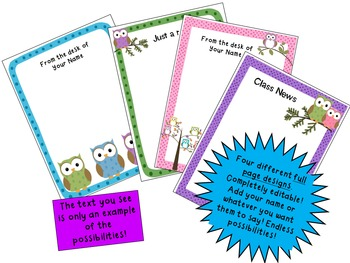 Owl Theme Stationery {Editable)