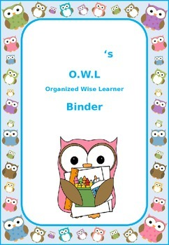 Owl Theme Student Binder Cover Page